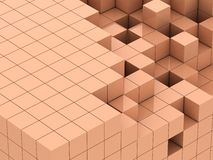 3d illustration of beige cubes. Abstract of 3d purple beige, blocks background Royalty Free Stock Images