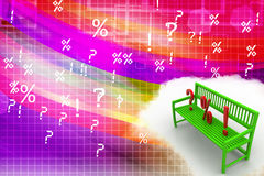 3d illustration of Bench With Question Mark Percentage and Exclamation Illustration Stock Images