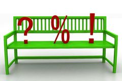 3d illustration of Bench With Question Mark Percentage and Exclamation Stock Image
