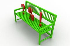 3d illustration of Bench With Question Mark Percentage and Exclamation Royalty Free Stock Photos
