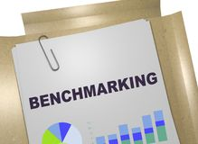 BENCHMARKING - evaluation concept. 3D illustration of BENCHMARKING title on business document Stock Images