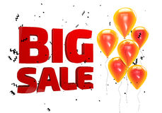 3D illustration of Big Sale poster. Sale banner with balloons and confetti Royalty Free Stock Images