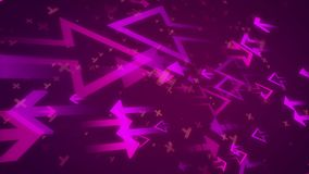 Abstract arrows attacking each other. 3d illustration of big and small arrows of a pink color aimed at each other with numerous x and y located between them in Royalty Free Stock Photos