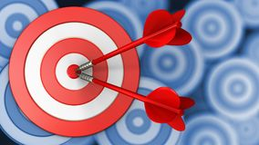 3d big taget with two darts. 3d illustration of big taget with two darts over many targets background Royalty Free Stock Image