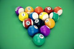3D illustration Billiard balls arranged in a triangle viewed from above, top view. Snooker, Pool game, Billiard concept Royalty Free Stock Photography
