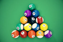 3D illustration Billiard balls arranged in a triangle viewed from above, top view. Snooker, Pool game, Billiard concept. 3D illustration Billiard balls arranged Royalty Free Stock Photo