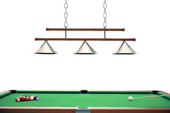 3D illustration Billiard balls in a green pool table, pool billiard game, Billiard concept. 3D illustration Billiard balls in a green pool table, pool billiard Royalty Free Stock Images
