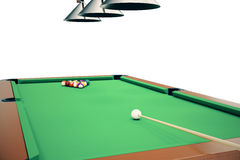 3D illustration Billiard balls in a green pool table, pool billiard game, Billiard concept. 3D illustration Billiard balls in a green pool table, pool billiard Royalty Free Stock Photography