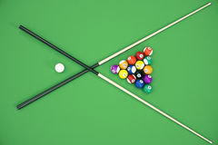 3D illustration Billiard balls in a green pool table, pool billiard game, Billiard concept. 3D illustration Billiard balls in a green pool table, pool billiard Stock Photos