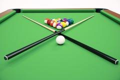 3D illustration Billiard balls in a green pool table, pool billiard game, Billiard concept. 3D illustration Billiard balls in a green pool table, pool billiard Royalty Free Stock Photos