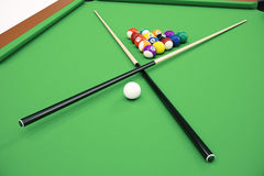 3D illustration Billiard balls in a green pool table, pool billiard game, Billiard concept. 3D illustration Billiard balls in a green pool table, pool billiard Stock Image