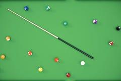 3D illustration Billiard balls in a green pool table, pool billiard game. Billiard concept. 3D illustration Billiard balls in a green pool table, pool billiard Royalty Free Stock Image