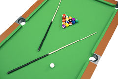 3D illustration Billiard balls on green table with billiard cue, Snooker, Pool game, Billiard concept. 3D illustration Billiard balls on green table with Royalty Free Stock Photography