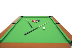 3D illustration Billiard balls on green table with billiard cue, Snooker, Pool game, Billiard concept Royalty Free Stock Photo