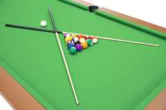 3D illustration Billiard balls on green table with billiard cue, Snooker, Pool game. Billiard concept. 3D illustration Billiard balls on green table with Royalty Free Stock Photography