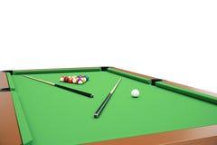 3D illustration Billiard balls on green table with billiard cue, Snooker, Pool game, Billiard concept. 3D illustration Billiard balls on green table with Stock Photography