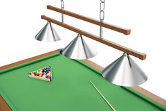 3D illustration Billiard balls on green table with billiard cue, Snooker, Pool game. Billiard concept. 3D illustration Billiard balls on green table with Stock Images