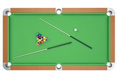 3D illustration Billiard balls on green table with billiard cue, Snooker, Pool game, Billiard concept. Top view. 3D illustration Billiard balls on green table Stock Image
