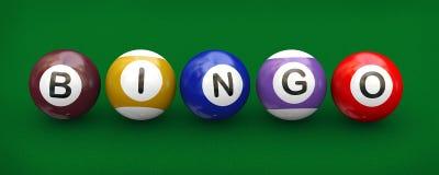 3d billiard pool balls bingo. 3d illustration of billiard pool snooker balls with word bingo Royalty Free Stock Images