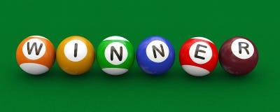 3d billiard pool balls winner. 3d illustration of billiard pool snooker balls with word winner Royalty Free Stock Photos