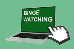 BINGE WATCHING concept. 3D illustration of BINGE WATCHING script with pointing hand icon pointing at the laptop screen royalty free illustration