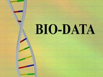 BIO-DATA - structural concept. 3D illustration of BIO-DATA script with DNA double helix, isolated on colored background Stock Image