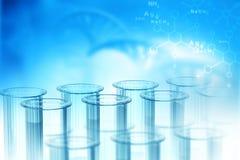 3d illustration biochemistry concept. Lab, chemistry, DNA structure, on blue background. 3d illustration biochemistry concept Stock Photo