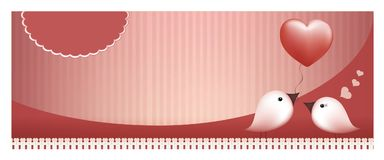 Web banner bird gives a balloon heart to a bird on pink background. 3d illustration with bird giving a pink heart to another bird. Valentine`s day concept. Birds Royalty Free Stock Image