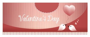 Web banner bird gives a balloon heart to a bird on pink background. 3d illustration with bird giving a pink heart to another bird. Valentine`s day concept. Birds Royalty Free Stock Photo