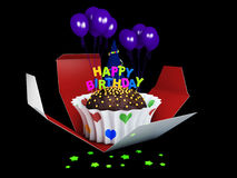 3d Illustration of Birthday cake with chocolate creme, stars and balloons. Royalty Free Stock Photography