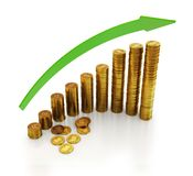 3d illustration of a bit currency coins with arrow. Stock Photo