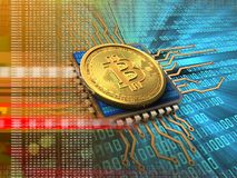 3d bitcoin with cpu orange Royalty Free Stock Photo
