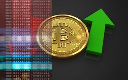 3d bitcoin up and down arrows. 3d illustration of bitcoin over black background with up and down arrows Royalty Free Stock Photos