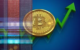 3d bitcoin. 3d illustration of bitcoin over blue background with Stock Images