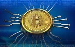 3d bitcoin chip schema. 3d illustration of bitcoin over blue background with chip schema Stock Photos