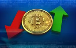 3d bitcoin up and down arrows. 3d illustration of bitcoin over blue background with up and down arrows Royalty Free Stock Photography
