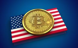 3d bitcoin USA flag. 3d illustration of bitcoin over blue background with USA flag Royalty Free Stock Photography