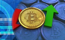 3d bitcoin up and down arrows. 3d illustration of bitcoin over blue coins background with up and down arrows Royalty Free Stock Photos