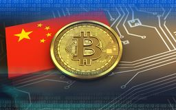 3d bitcoin china flag stock illustration