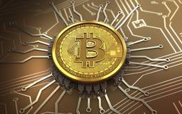 3d bitcoin chip schema Royalty Free Stock Photo