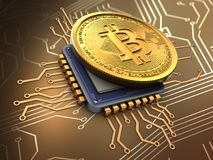 3d bitcoin with cpu. 3d illustration of bitcoin over circuit background with cpu Royalty Free Stock Photo