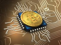 3d bitcoin with cpu. 3d illustration of bitcoin over circuit background with cpu Stock Photos