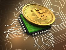 3d bitcoin with cpu. 3d illustration of bitcoin over circuit background with cpu Stock Images