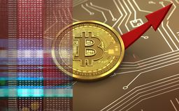 3d bitcoin up arrow Royalty Free Stock Images