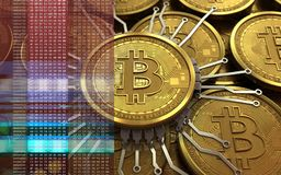 3d bitcoin chip schema Royalty Free Stock Photography