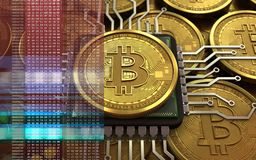 3d bitcoin CPU Royalty Free Stock Photos