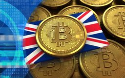 3d bitcoin UK flag. 3d illustration of bitcoin over coins stacks background with UK flag Stock Images