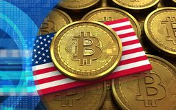 3d bitcoin USA flag. 3d illustration of bitcoin over coins stacks background with USA flag Royalty Free Stock Photo