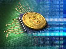 3d bitcoin with cpu blue Royalty Free Stock Photo