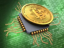 3d bitcoin with cpu Stock Photography
